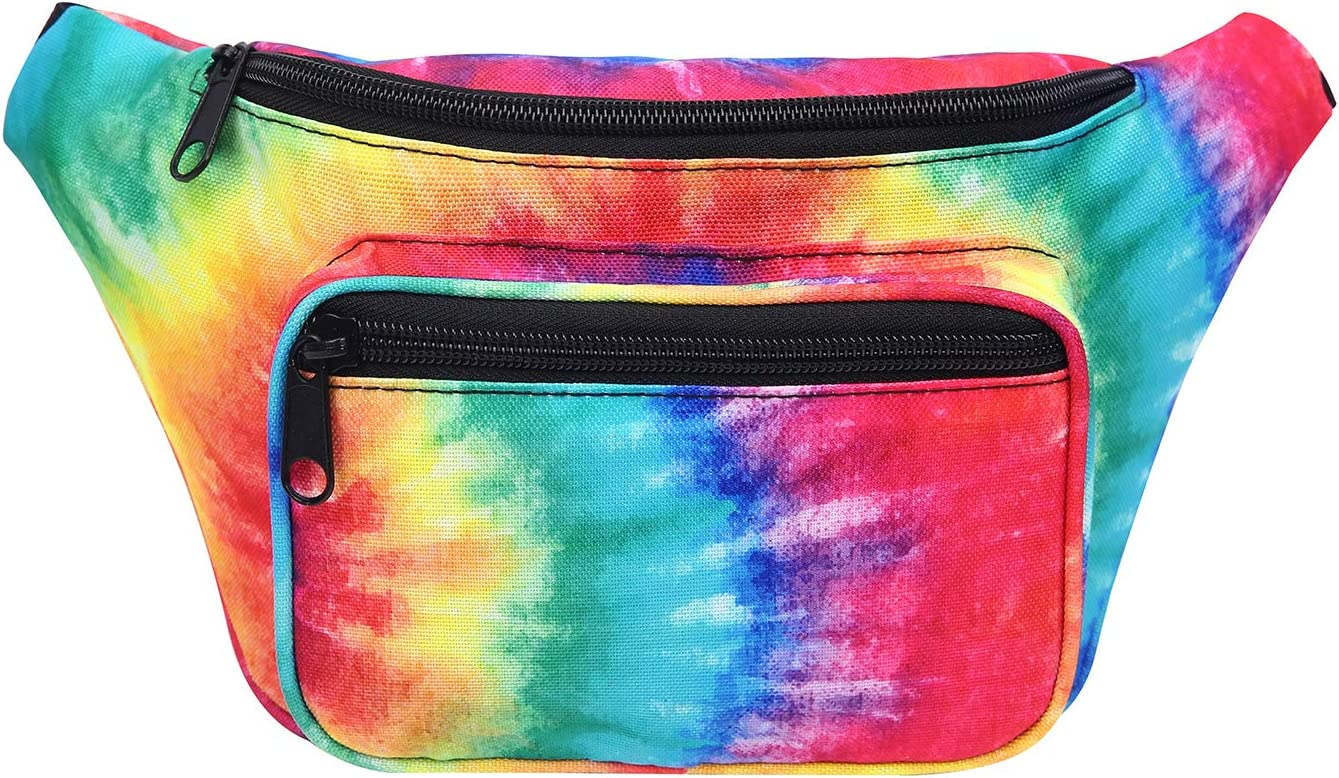 HDE Fanny Pack [80's Style] Waist Pack Outdoor Travel Crossbody Hip Bag(Tie Dye)