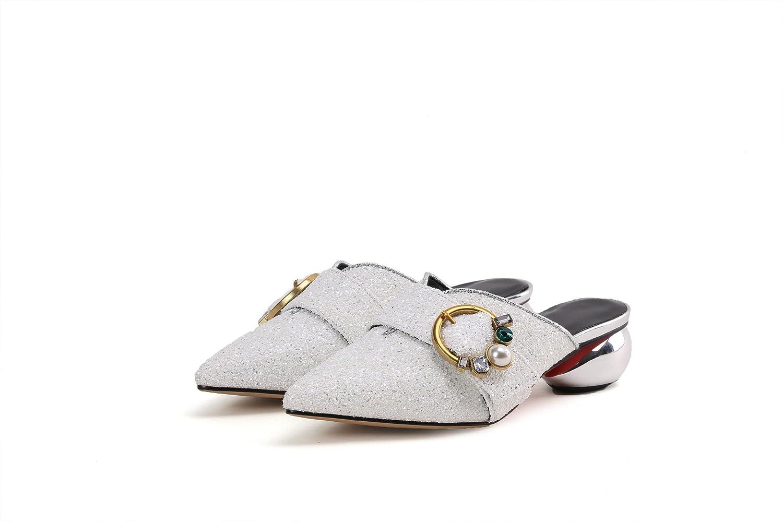 QIN&X Damen Sandalen Spitz Block Heels Flip Flop