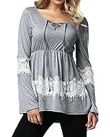 Ya Lida Women's Lace Casual stitching long-sleeved T-shirt