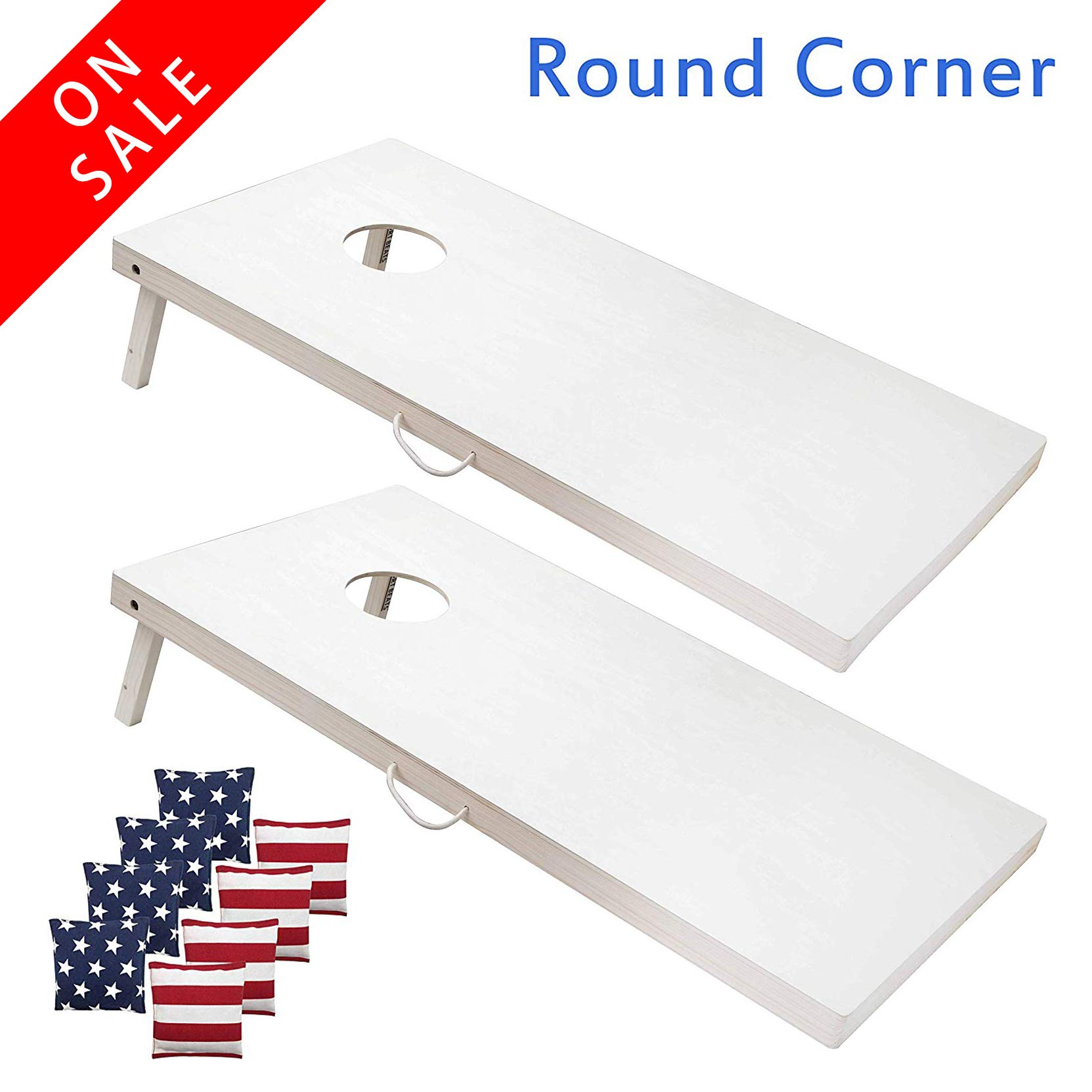 SPORT BEATS 4 x 2 Ft Regulation Cornhole Boards Cornhole Game Set -Tournament Size Wood Corn Hole Board Game-3 Options to Choose from (4 × 2 Boards(No Lights).) by SPORT BEATS