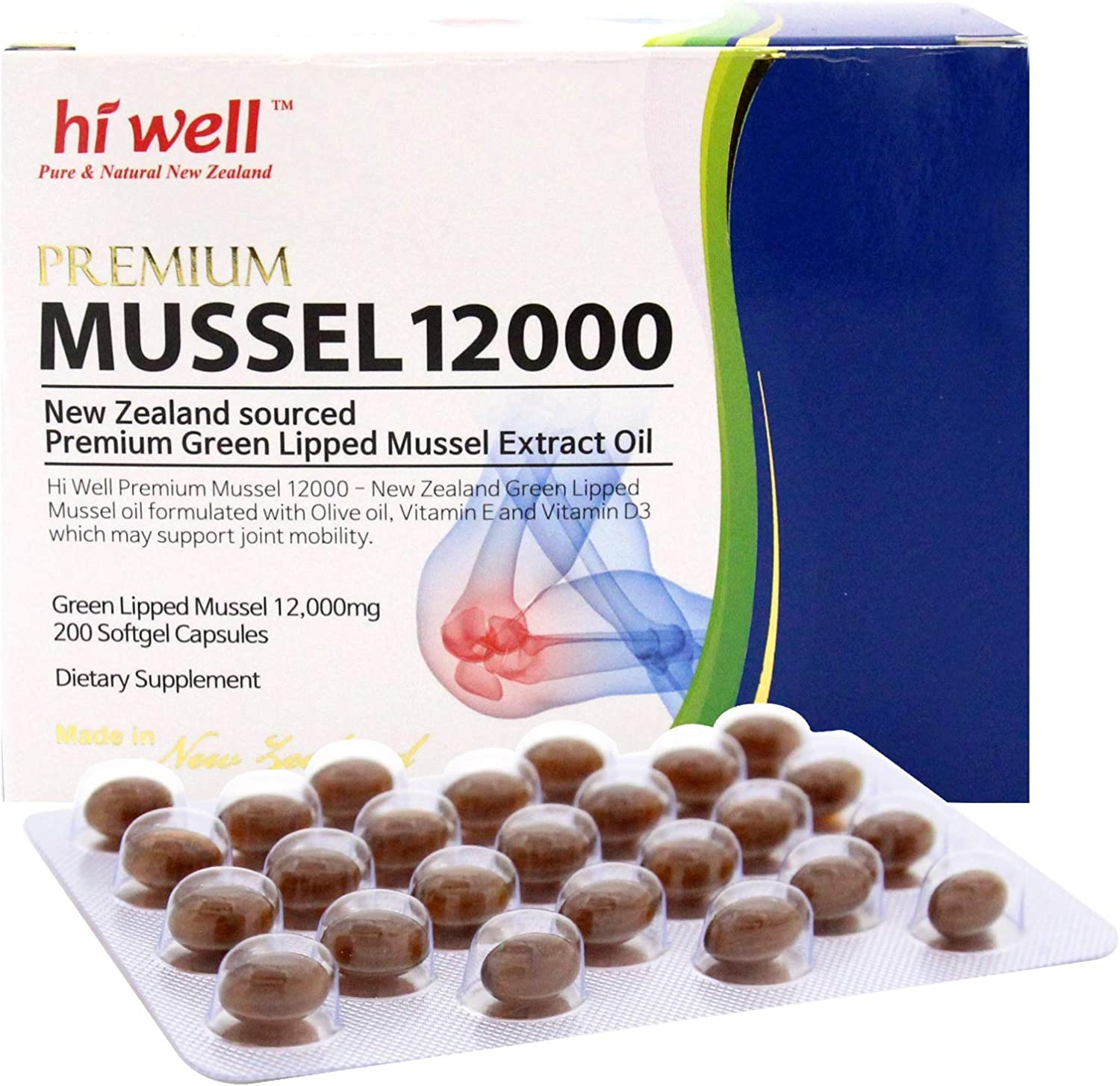 Hi Well Premium Mussel 12000 (200 Softgel Capsules) / Green Lipped Mussel Extract Oil/Joint Health