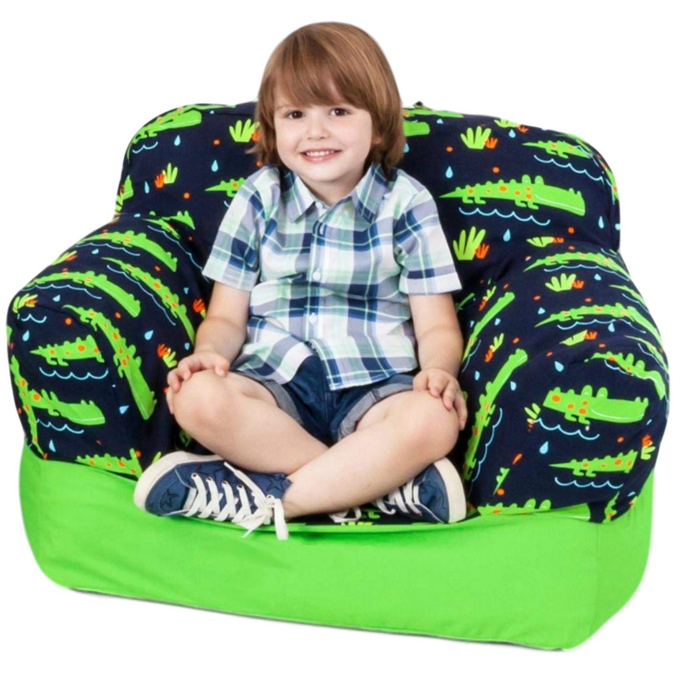 Yayme! Bean Bag Chairs for Kids | Blue Green Crocodile Alligator Bean Bag Chair | Soft Cotton Double Beanbag Cover for Children Kids Toddler | Bedroom Play Furniture for Boys | Back to School Stuff