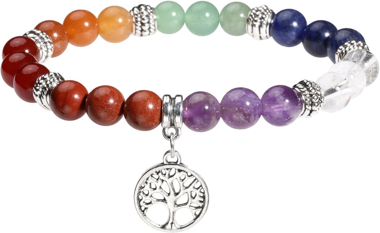MILAKOO 7Chakra Beads Pulsera con árbol de la Vida/Lotus/OM símbolo Yoga Meditación curación Pulsera