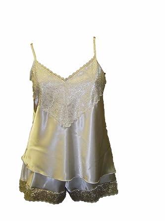 5bd0b92ab3 satin camisole french knickers sexy cream 22-24  Amazon.co.uk  Clothing