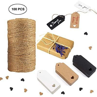 Tretar 330Ft(100M) Natural Jute Twine String, 99 PCS Kraft Paper Gift Tags Lables, Gift Twine Tags Wrapping Kit for Crafts, Gift Wrapping, Packing, Gardening and Wedding Decoration : Office Products [5Bkhe0400403]