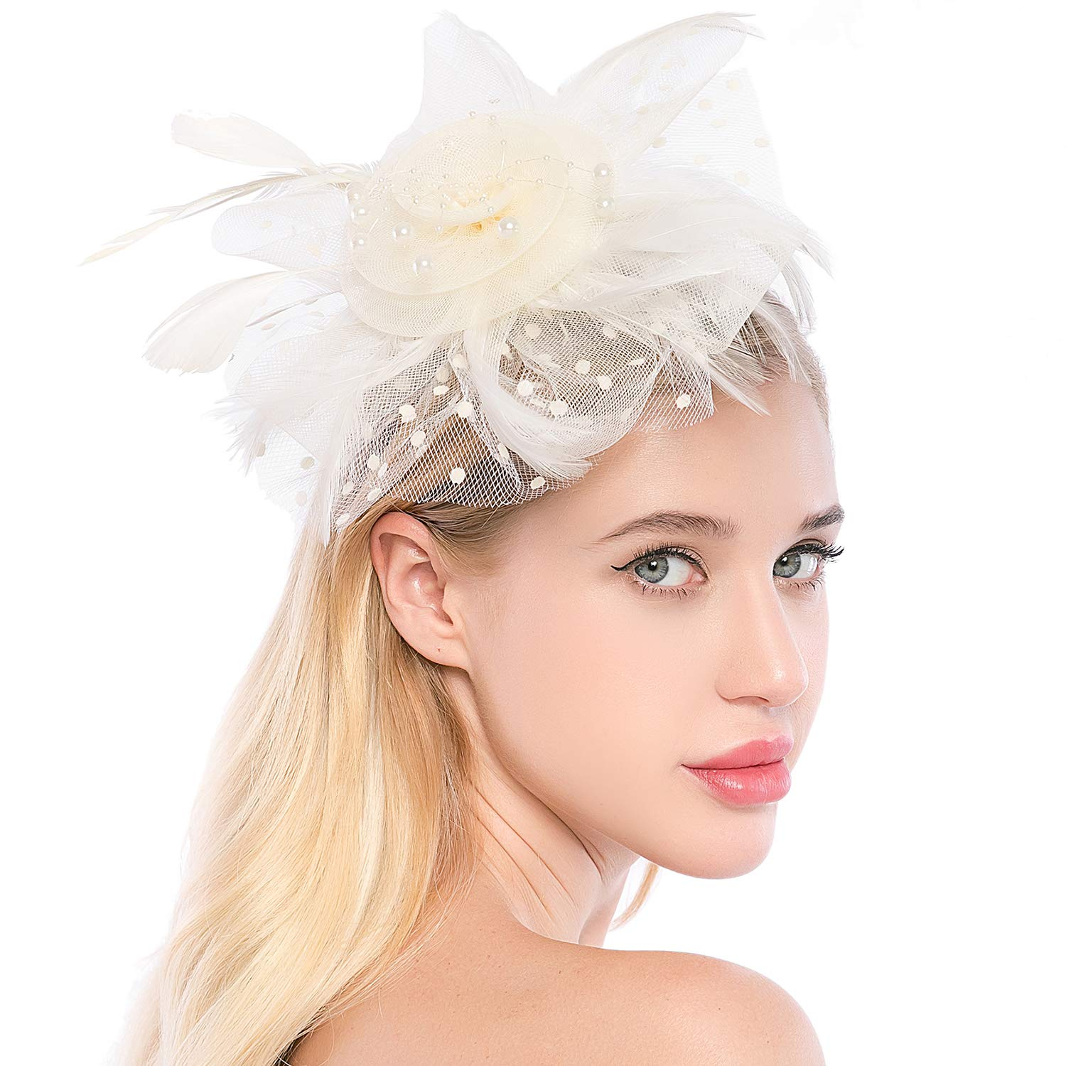 Xflyee Fascinators Hat Flower Mesh Ribbons Feathers Tea Party Cocktail Headband for Girls and Women (White / 7 Inch Diameter)