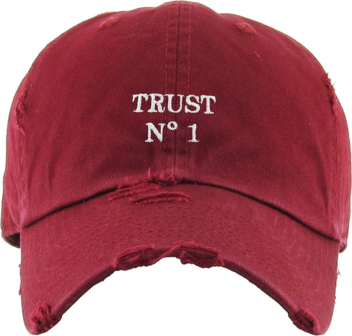 f89acd321aad4 Amazon.com  KBSV-055 BUR Trust No1 Vintage Distressed Dad Hat Baseball Cap  Polo Style  Sports   Outdoors