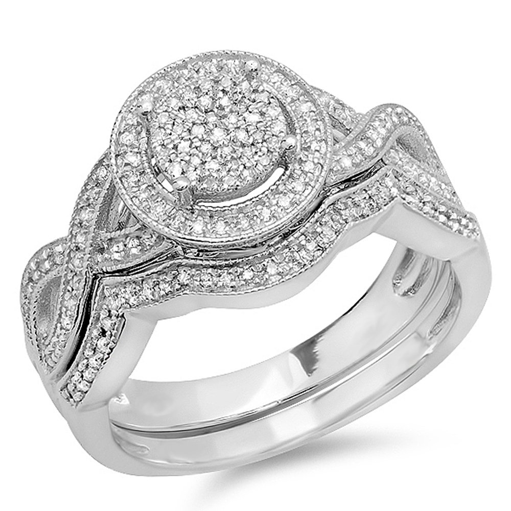 0.55 Carat (ctw) Sterling Silver Round Diamond Womens Micro Pave Engagement Ring Set 1/2 CT (Size 10)