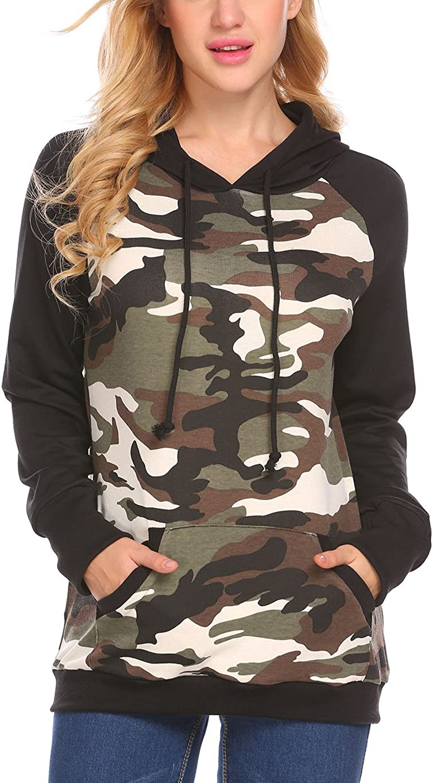Women's Camouflage Hoodies Pullover Sweatshirt Hooded Camo Sweater Pockets Leopard Loose Shirt Tops