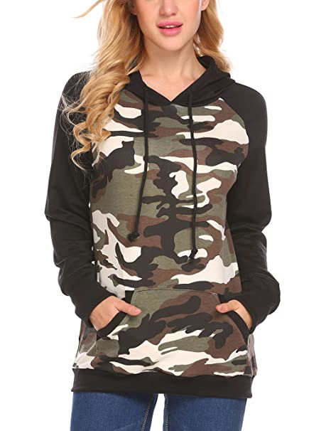 4de0216ac47b2e Women's Camouflage Hooded Pullover Hoodies Loose Fit Pockets Casual Shirt  Juniors(S, Camo Green