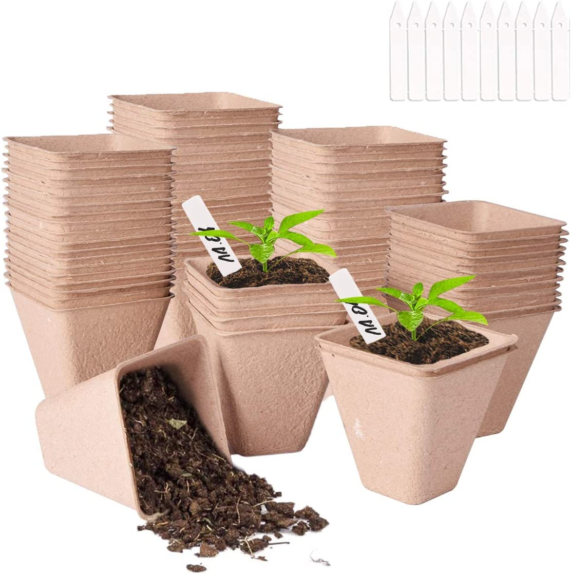 3.15'' Seed Starter Peat Pots Kit for Garden, ANGSOU 40 Pack 100% Eco-Friendly Organic Germination Seedling Trays with 10 Plastic Plant Labels (40 Pack, 3.15'')