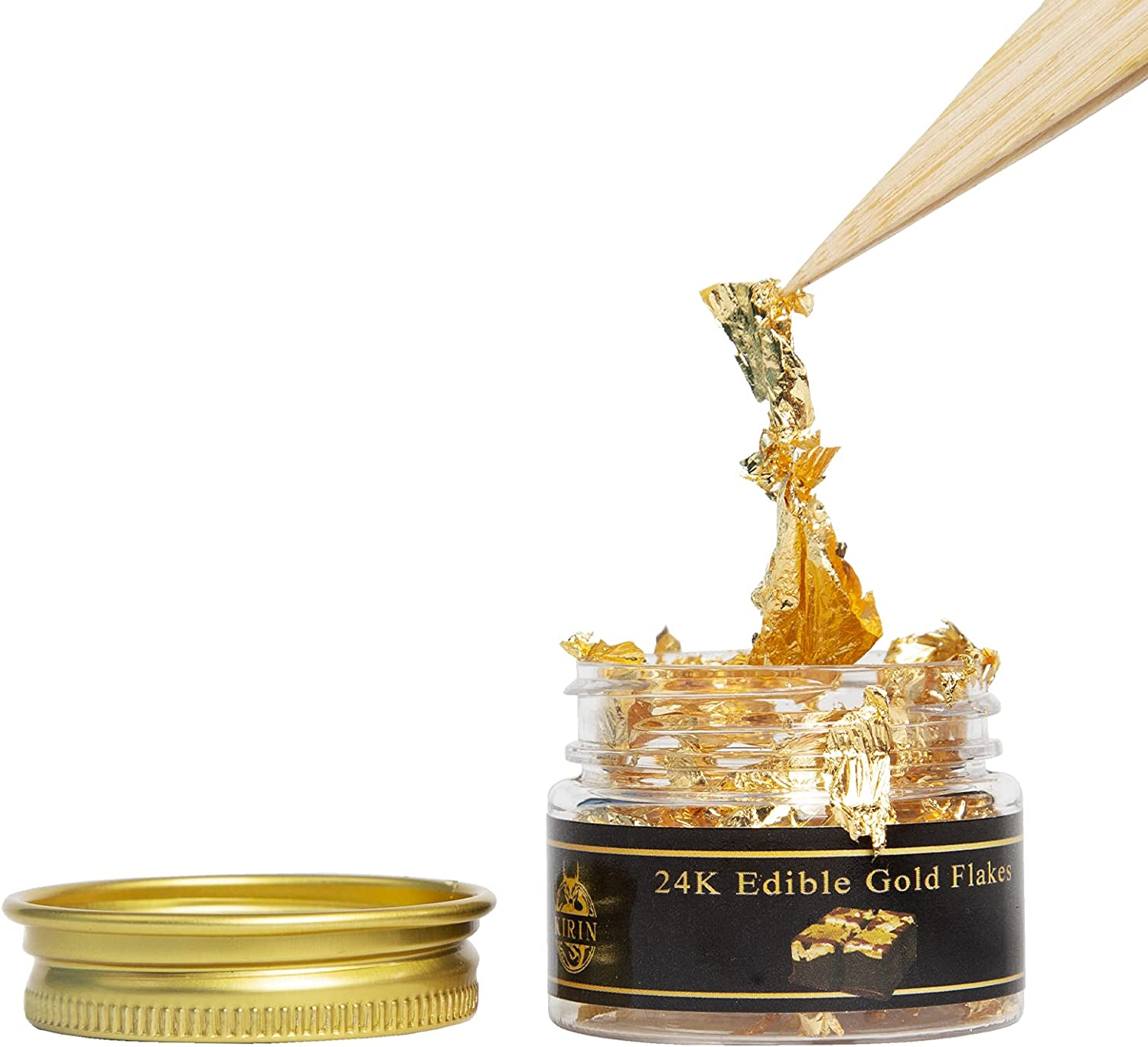 Edible Genuine Gold Leaf Flakes, 24K 25mg Kirin Gold Flakes Decorative for Cakes Crafts Painting Furniture Nails Decoration