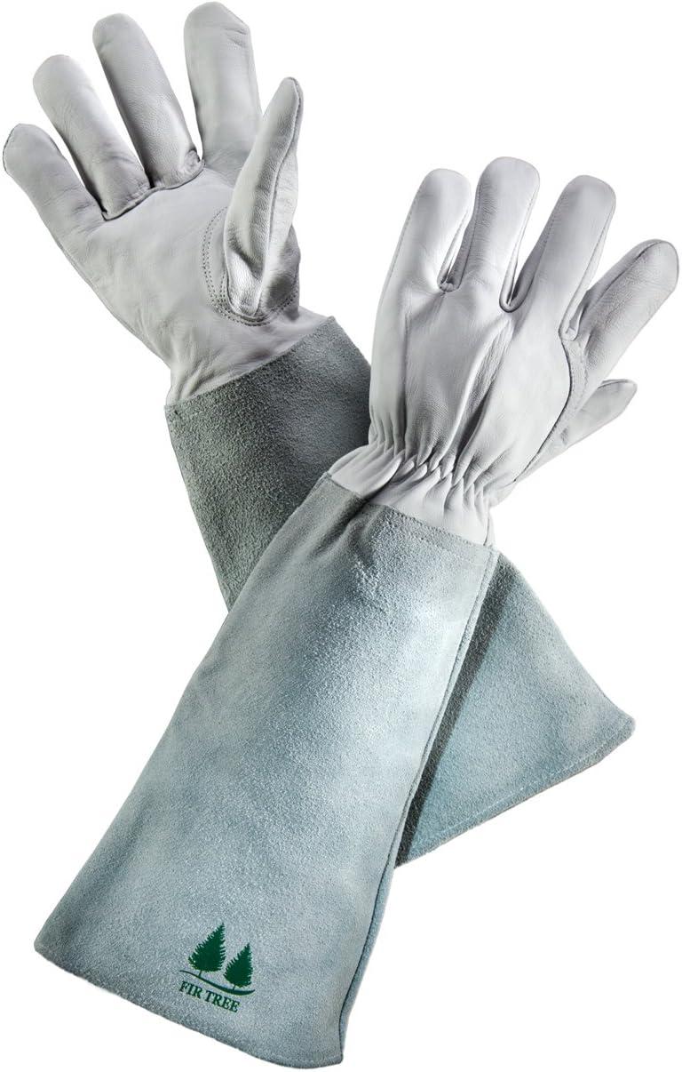 Piel guantes de jardinería por árbol de abeto. Premium piel de cabra guantes, piel de vaca con de lunares mangas. Perfecto rosa guantes de jardinería. Para hombres y mujeres (tabla de tallas Foto de)