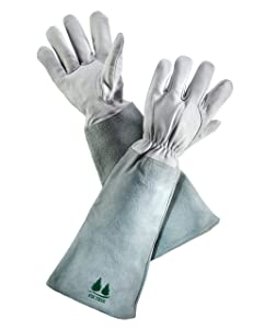 FirTree Brand Leather Gardening Gloves. Premium Goatskin Protective Gloves with Cowhide Suede Gauntlet Sleeves. Perfect Rose Garden Gloves. Men's and Women's Sizes. (See Size Chart Photo)