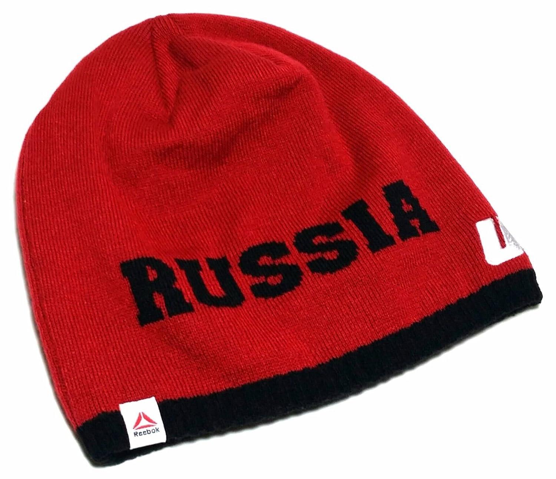 Reebok UFC Gorro de Punto Uncuffed Rusia Rojo Blanco Gorro de Lana ...