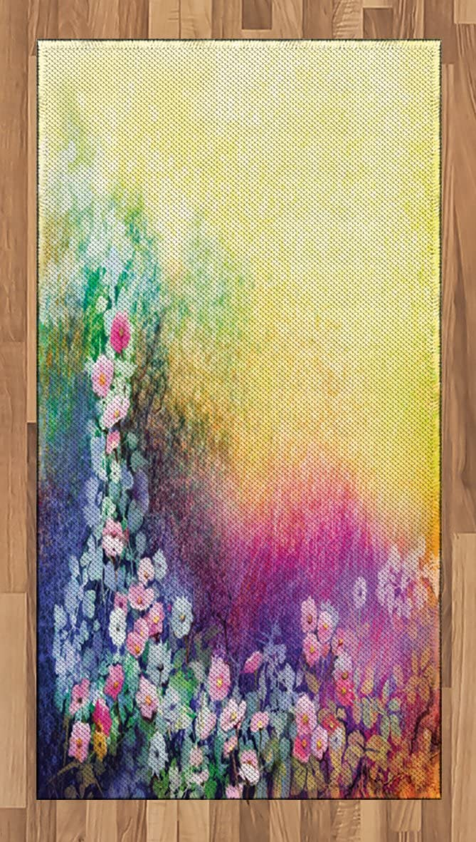 Ambesonne Flower Area Rug, Ivy Floral Beauty in Spring Blooming Nature Soft Calm Paradise Print, Flat Woven Accent Rug for Living Room Bedroom Dining Room, 2.6 x 5 , Purple Yellow Multicolor