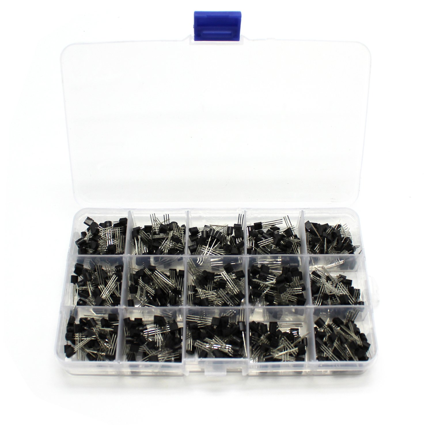 NPN / PNP Transistor Assortment Kit, ICEBLUEOR 15Values 600PCS NPN PNP Power Transistor Assortment Assorted Kit Set 2N2222-S9018 with Clear Plastic Box