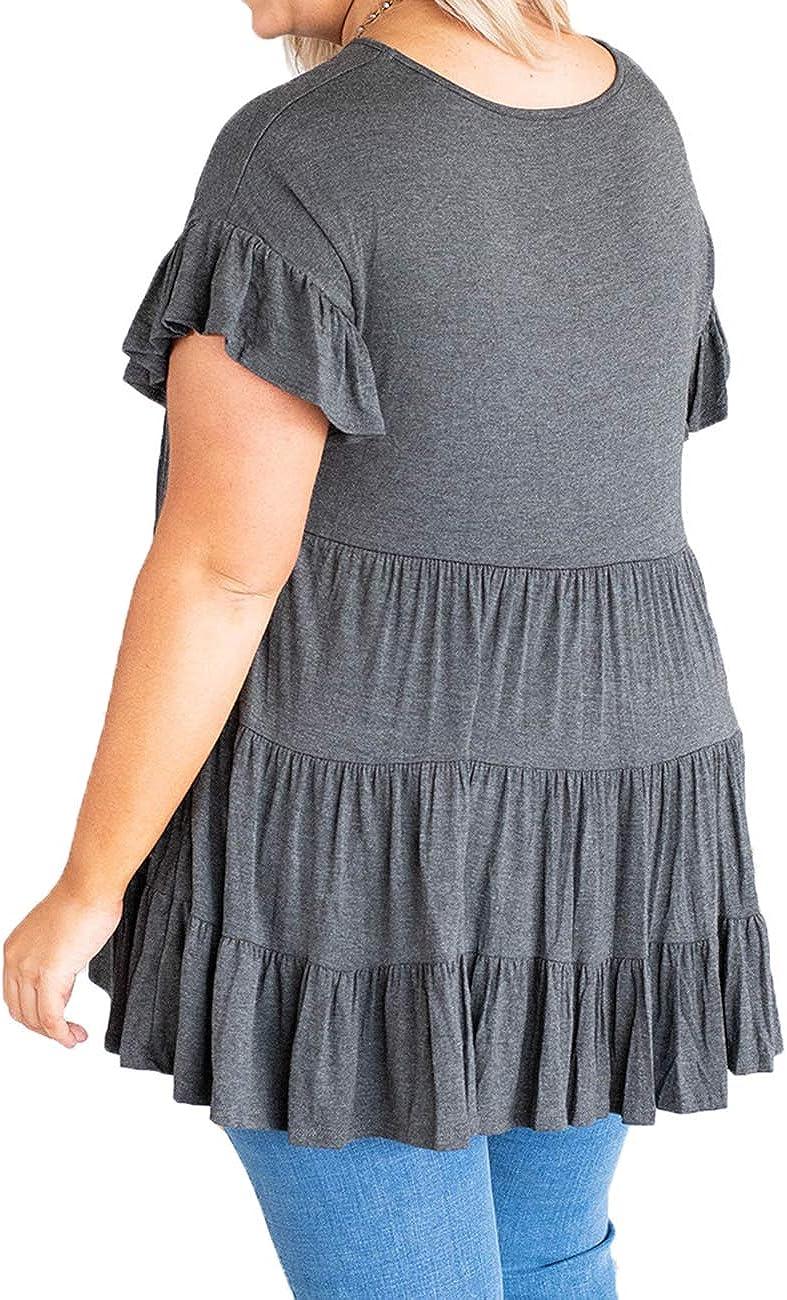 Rainlin Women Casual Plus Size Summer Tops Ruffle Short Sleeve Tunic Shirt Round Neck Tiered Pleated Mini Dress