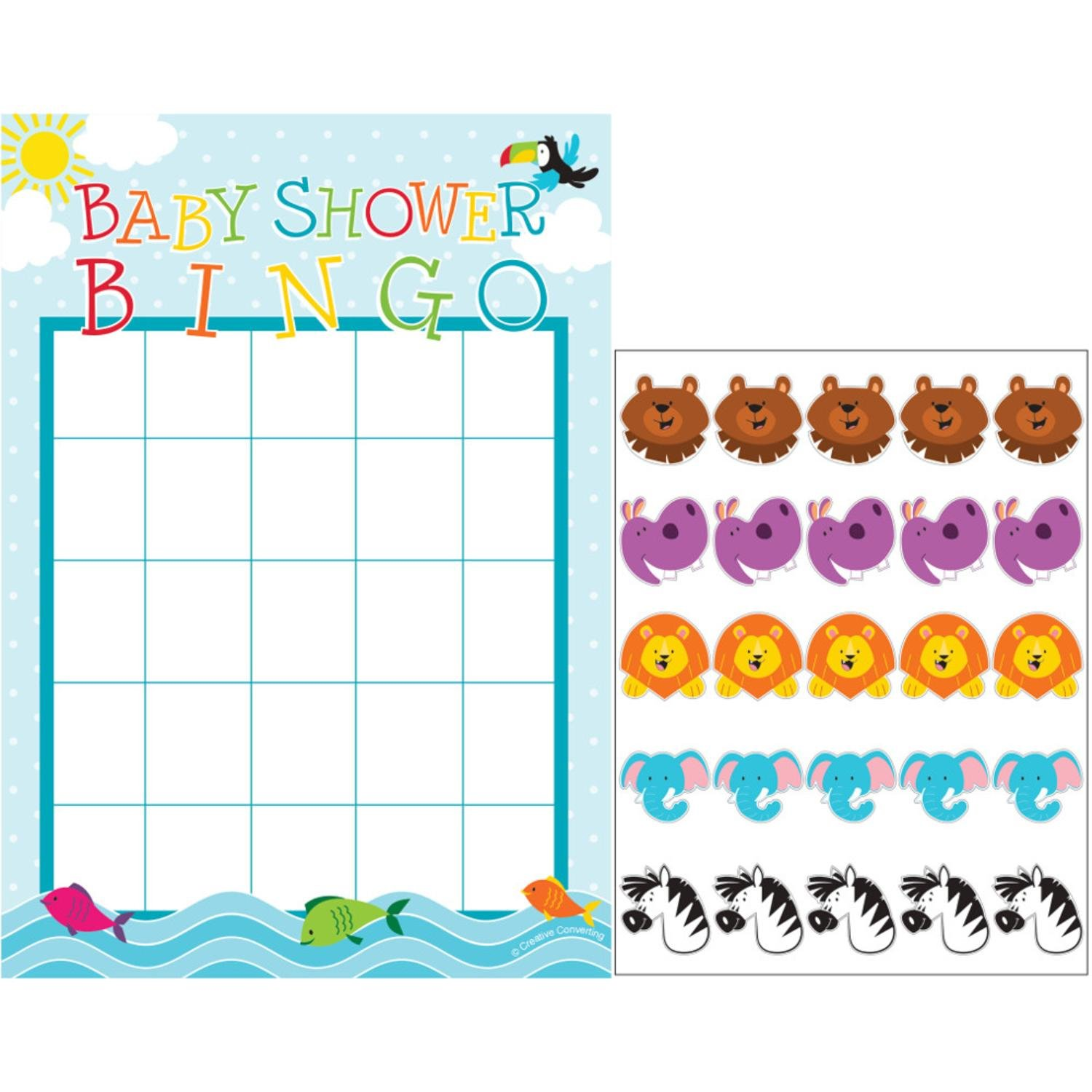 Party Central Club Pack of 60 Multicolored Noah's Ark Baby Shower Bingo Game 8.5''