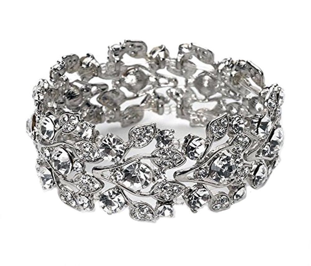 Silver Tone Imitation Diamond Cluster Wedding Bridal Formal Prom Vintage Antique Retro Deco Style Rhinestone Statement Bracelet