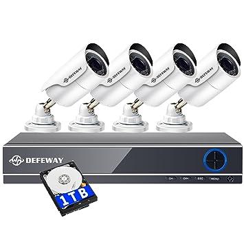 DEFEWAY Cámaras de Vigilancia 4 canales DVR 1TB HDD + 4x 1080P Sony Sistema de Seguridad CCTV sistemas de cámaras: Amazon.es: Informática