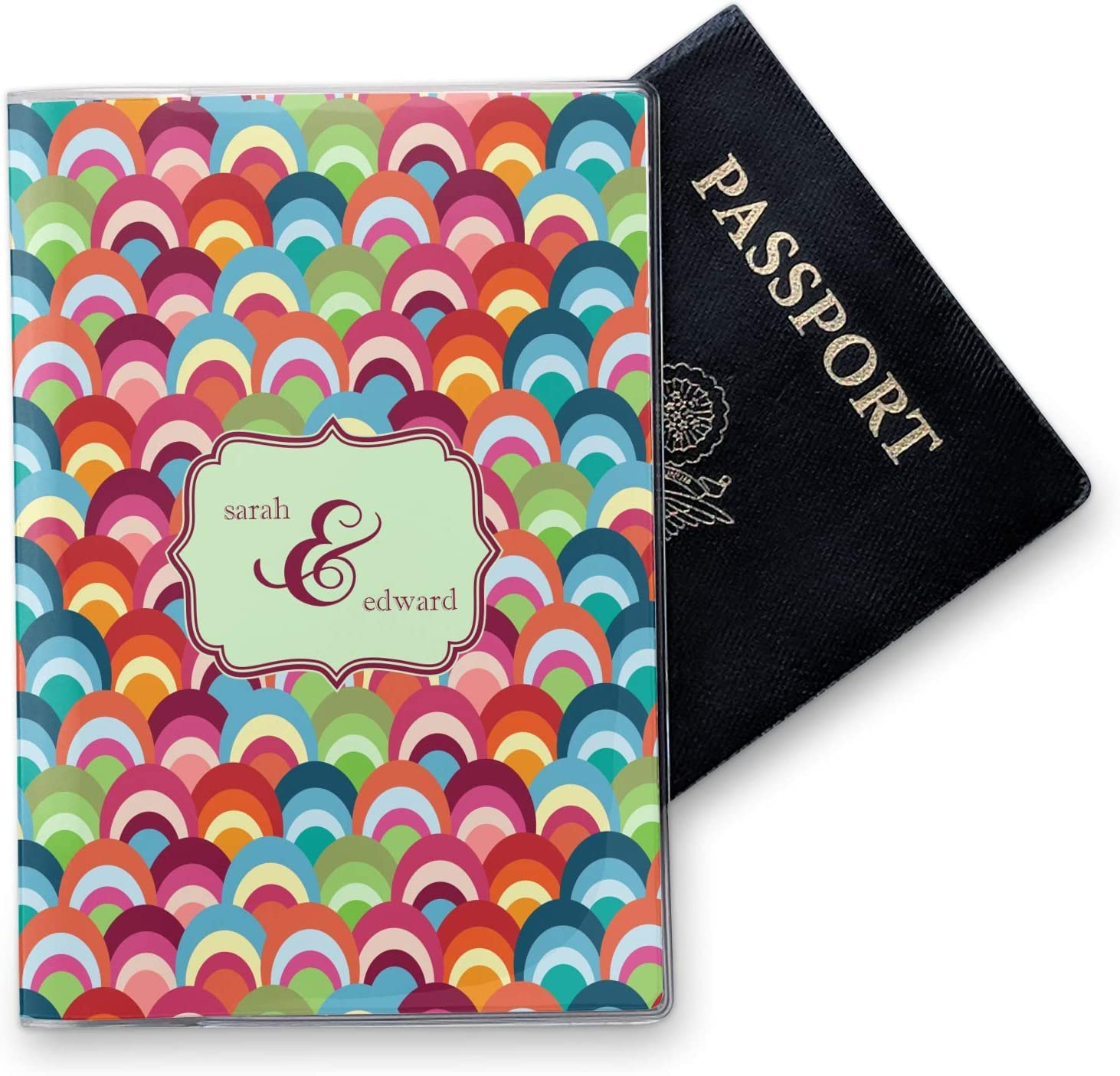 Personalized Retro Fishscales Vinyl Passport Holder
