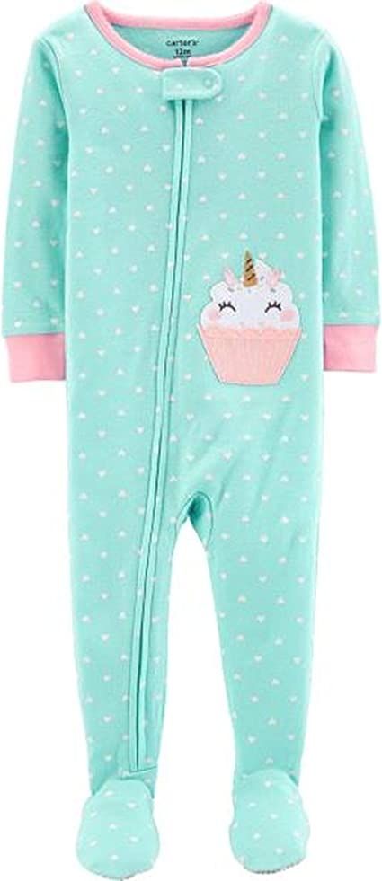 CARTER/'S Girl/'s Size 4T Aqua Green Fleece Footed Cupcake Pajama Sleeper