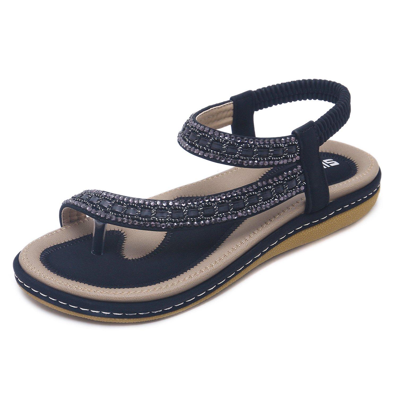 CARETOO Sandali della Boemia di Estate delle Donne Sandali Piani di Sommer Strass Perline Scarpe Piatte Scarpe da Spiaggia Infradito Nero