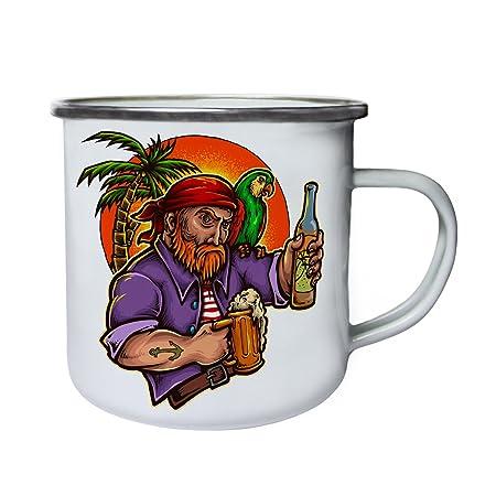Pirata loro cerveza bebida palmera invitación tatuaje Retro, lata ...