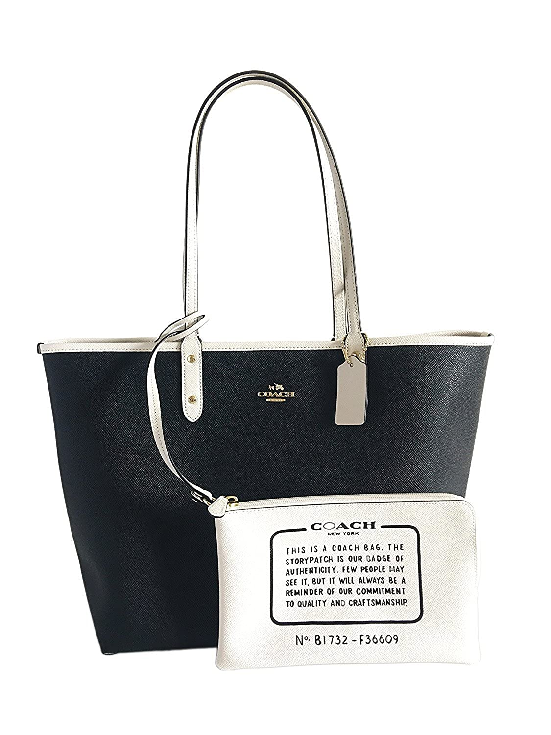 191ba3d6d5c COACH Reversible City Tote in Coated Canvas (Black/White/Gold)