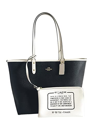 f9d8dd458a77a COACH Reversible City Tote in Coated Canvas (Black/White/Gold ...