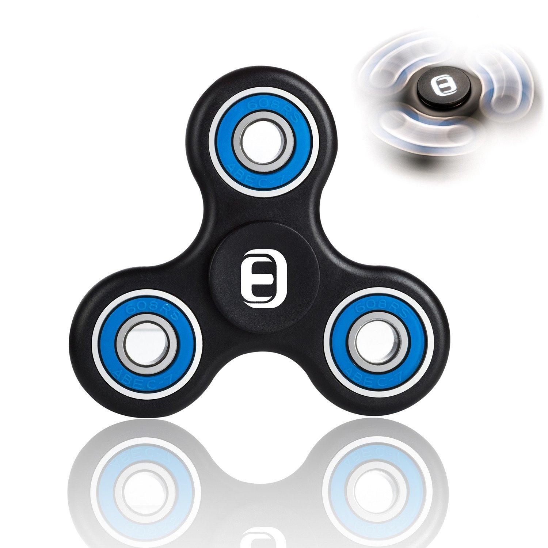 Oriental eLife Fidget Spinner toy, EDC Tri Finger Hand Dito Della Mano Giocattolo per Bambini Adulti, Nero Blu
