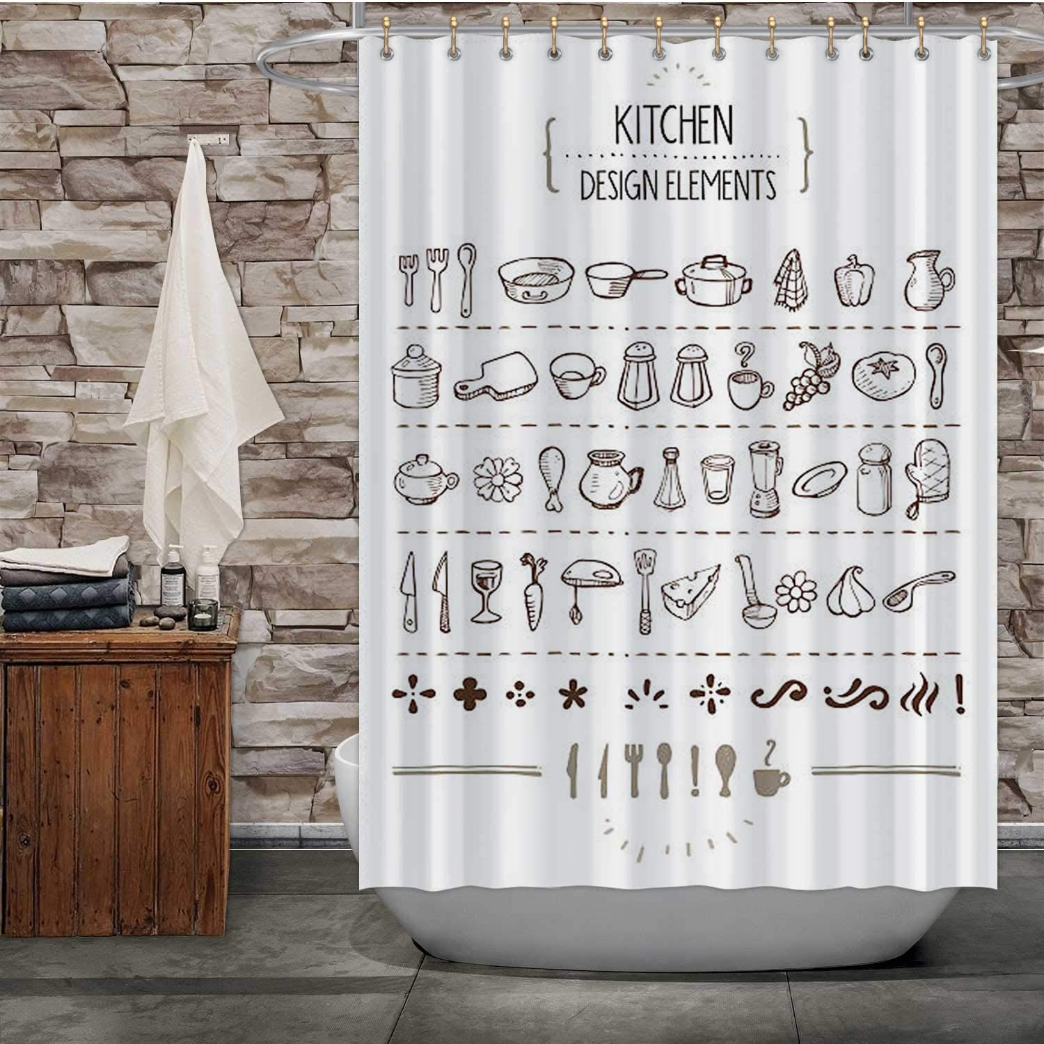 Tstyrea Kitchen Themed Doodles for Designers - Cooking,Fabric Shower Curtain Food for Bathroom 72X72in