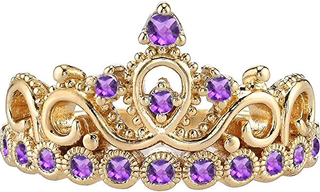 SVC-JEWELS Beautiful Round Cut Amethyst 14K Two-Tone Gold Plated Rose Tiara Princess Ring