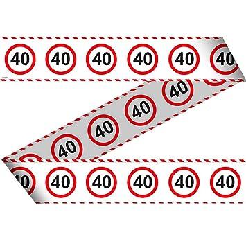 NET TOYS Cinta de contención 40 cumpleaños señal de tráfico ...