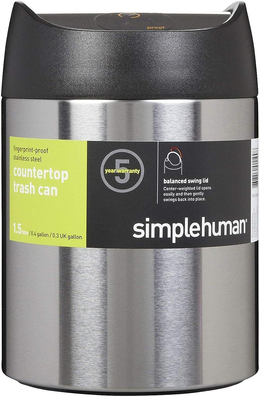 simplehuman, 1,5 Liter, Tischeimer, gebürsteter Stahl, 5 Jahre Garantie