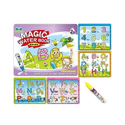 Sipobuy Magic Water Drawing Book Agua Libro para Colorear Doodle con Magic Pen Tablero de Pintura para niños Educación Dibujo Juguete (Letras y ...