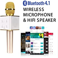 Wireless Bluetooth Karaoke Microphone, Easter Gift 3-in-1 Portable Hand Speaker for iPhone/Android/iPad/Sony,PC and All Smartphone (Gold)