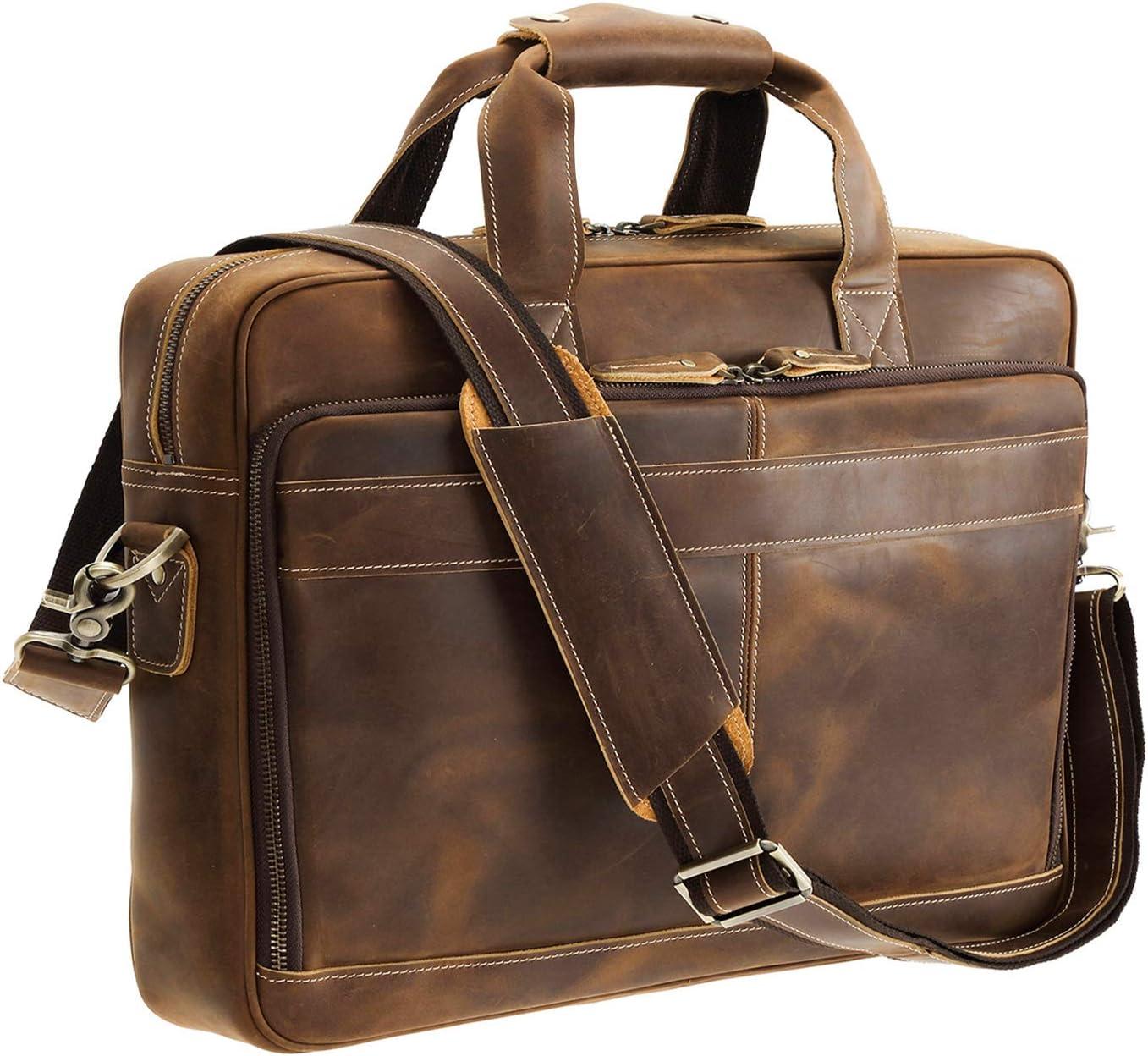 Polare Italian Full Grain Leather 15.6'' Laptop Bag Briefcase for Men Business Travel Messenger Bag