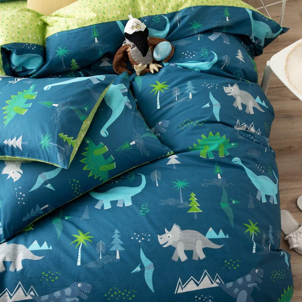 OTOB Dinosaur Queen Bed Duvet Cover Set Multi Color Gray 3 Piece Cartoon Bedding Sets Full Size for Boys Kid Students with 2 Pillow Shams, Blue Cotton
