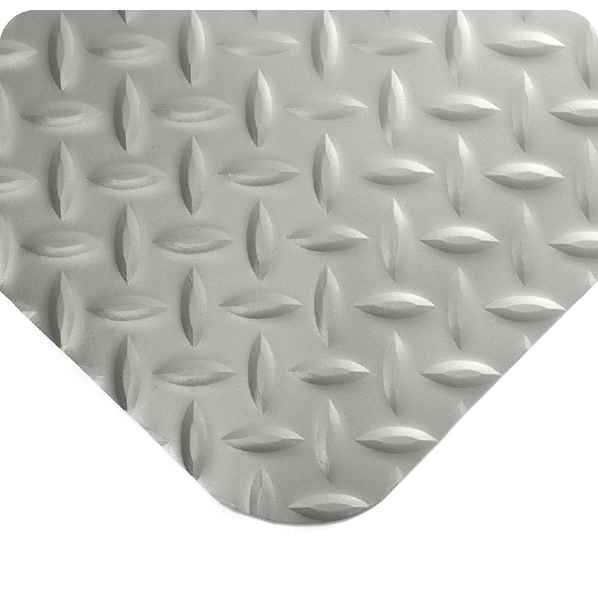 "Wearwell 414.1516x2x40GY Diamond-Plate SpongeCote Ultrasoft Mat, 40' Length x 2' Width x 15/16"" Thick, Gray"