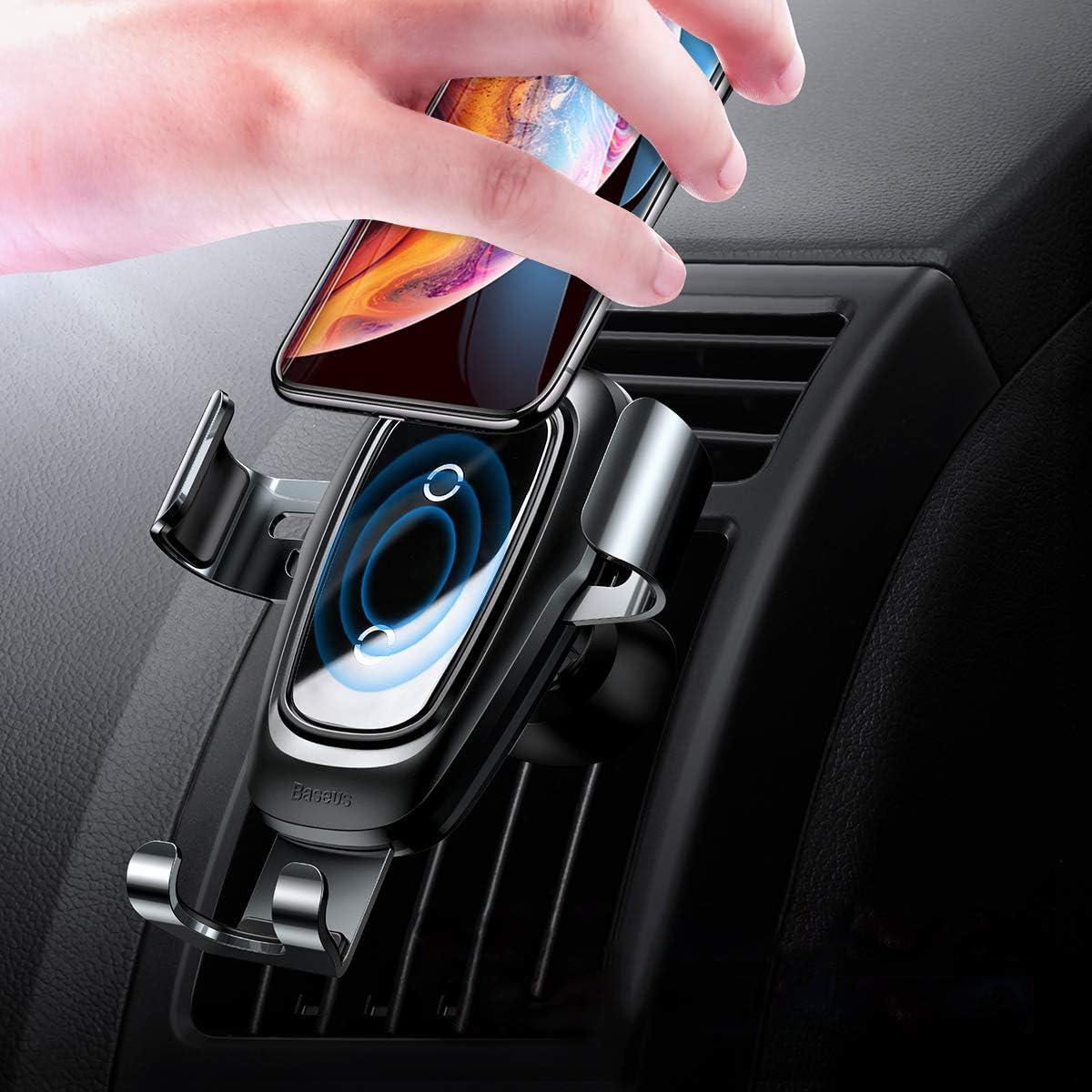 Baseus Cargador Inalámbrico Coche,QI Cargador Coche Carga Rápida con Rejillas del Aire, Automático 360 ° con base de carga para iPhone 11 Pro / X / 8/8 Plus, Samsung Galaxy S9 S8, HUAWEI Mate 20 Pro