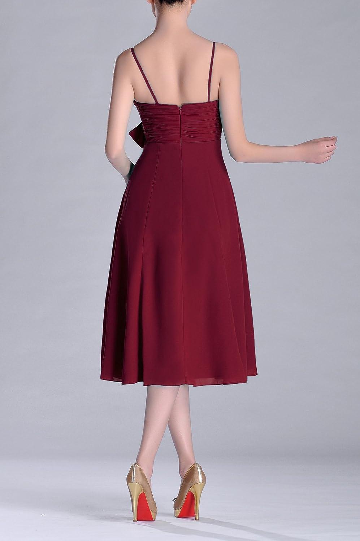 3a83e792e2ab Natrual Junior A-line V-neck Strapless Knee Length Chiffon Bridesmaid Dress  - Red -: Amazon.co.uk: Clothing