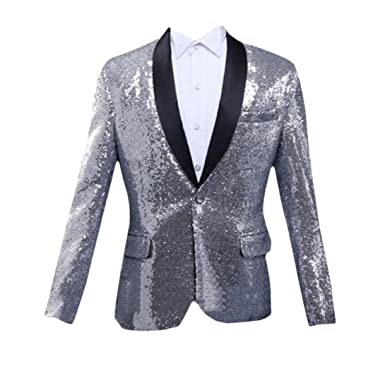 aesthetic appearance 100% authentic special discount of Sexybaby Mens Trim-Fit Blazer Sequin Glitter Tuxedo Thin ...