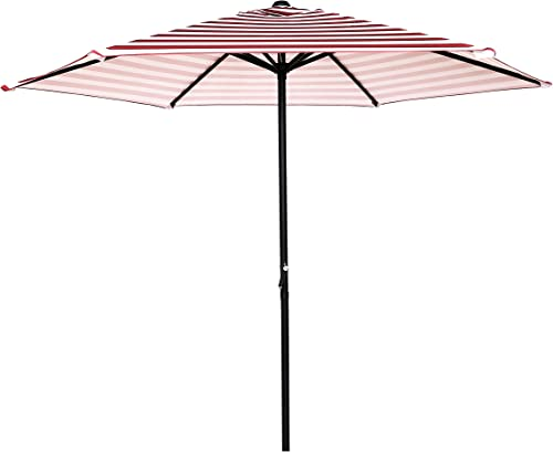 9 Ft Outdoor Patio Umbrella Round Market Table Umbrella 6 Ribs Crank Lift Garden Parasol Red