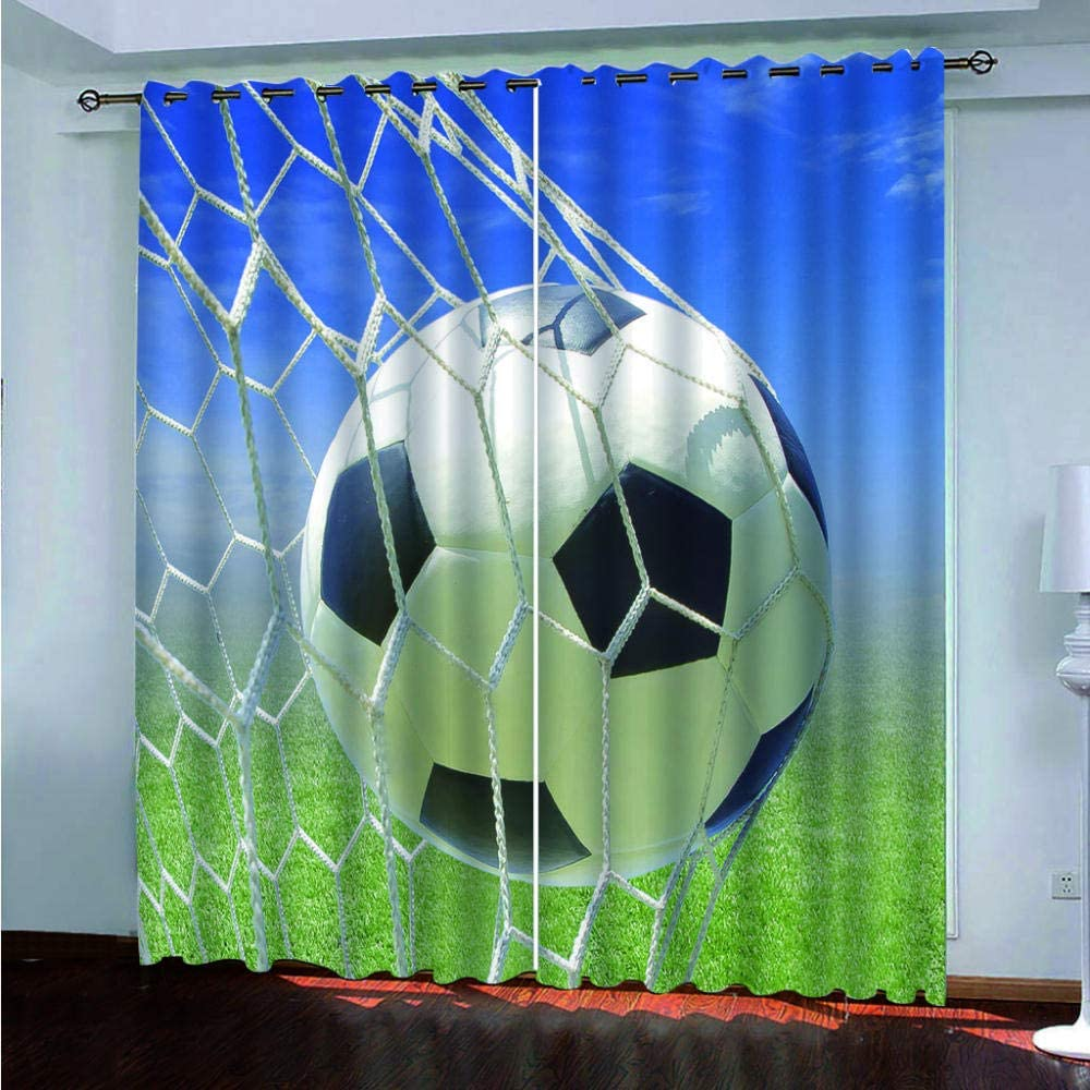 empty Blackout curtains for windows football Solid Eyelet Ring Top drapes Panels Thermal Insulated Bedroom Curtains Blackout Darkening for Boys girl room46 width x 54 Drop x 2 panels