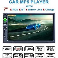 Lling (TM) double DIN, écran tactile Intégré au Tableau de bord 17,8cm stéréo avec Bluetooth stéréo de voiture/MP3MP4MP5Audio Video Player/commande au volant/FM/AM/RDS Tuner radio et HD, Noir