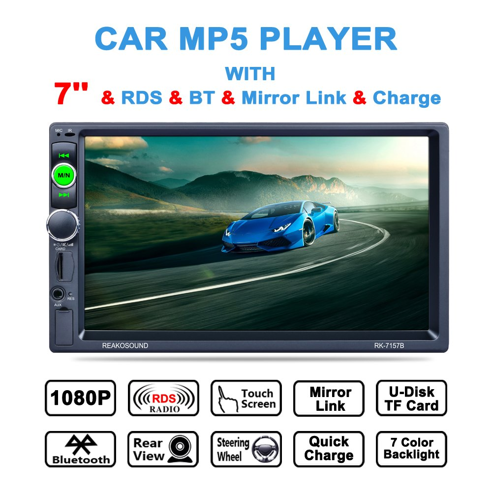 LSLYA (TM) 7inch HD bluetooth MP5 player TFT touch screen FM AM RDS Radio car video USB TF Aux Input Color screen Car Stereo with remote