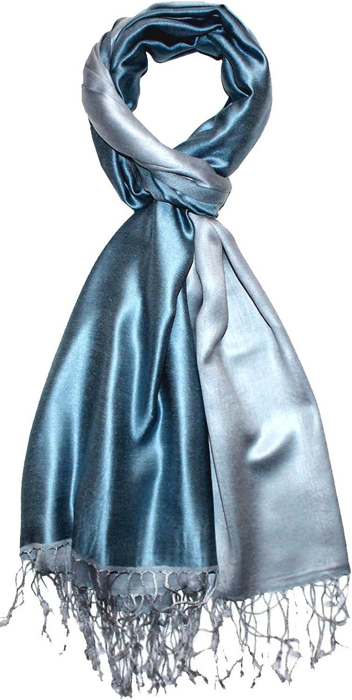Lorenzo Cana Foulard de 70/% Soie et 30/% Viscose laine pour l`homme une /étole noble pour le printemps et l/´/ét/é /écharpe r/éversible avec les mesures de 70 x 190 cm double face en bleu ciel blanc