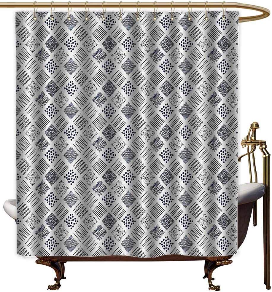 Cortina de ducha de decoración del hogar, diseño abstracto inspirado en el mar, diseño de olas del océano horizontales, curva, acuático, cortina de baño de poliéster lavable, color verde helecho: Amazon.es: Hogar